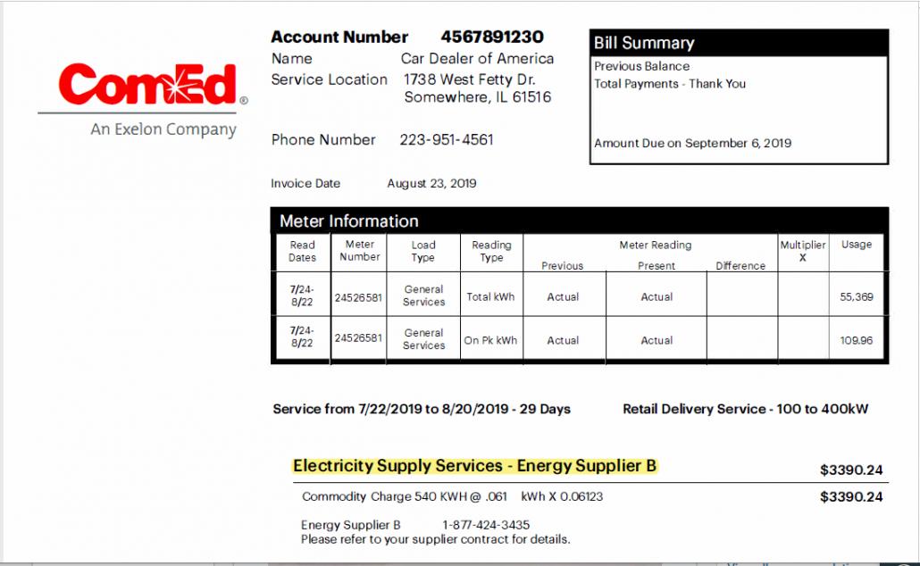 Supplier on Utility Bill